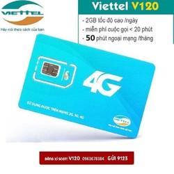 Sim 4G Viettel  V120 Combo KM 60GB + Gọi thoại +