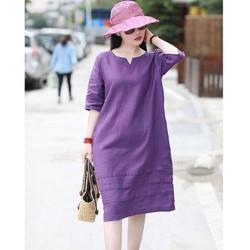 Đầm suông linen tay lỡ cổ phát V, chất vải linen tự nhiên mềm mát, thời trang xuân hè 2021