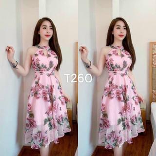 Đầm cổ giọt nước voan hoa - T260 thumbnail