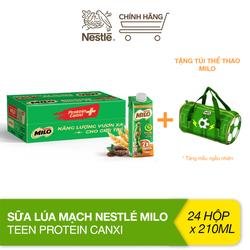 [Tặng túi thể thao Milo] Thùng 24 hộp sữa lúa mạch Nestlé Milo Teen Protein Canxi (24x210ml)