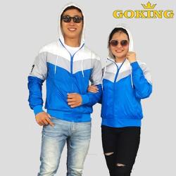 Áo khoác cặp đôi nữ nam GOKING phối 3 màu thời trang, vải dù nhẹ, cản gió tốt