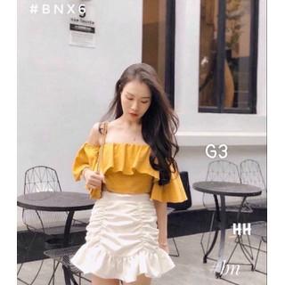 Set áo trể vái bèo ngực và chân váy nhún - g03 thumbnail