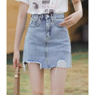 Quần váy jean BigSize lưng cao phom A nhẹ có túi nắp nhỏ, co dãn mạnh màu xanh nhạt Rách kiểu 3873 - 3874 thumbnail