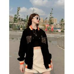 Áo khoác bomber nữ , áo khoác nhung
