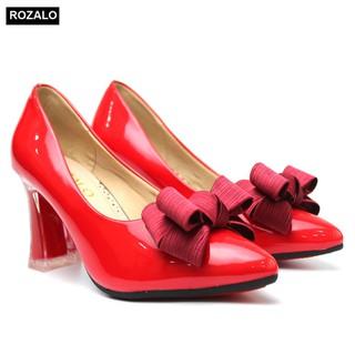 Giày nữ cao gót trong suốt 7P da bóng đính nơ Rozalo R5800 - 5800 thumbnail