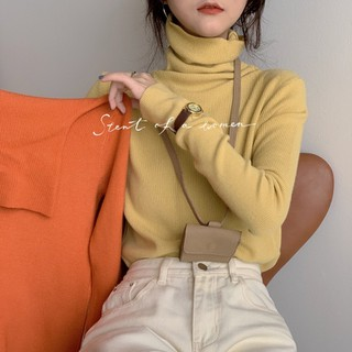 Áo len thun dài tay cổ lọ trơn màu phong cách Hàn Quốc - ATD023 thumbnail