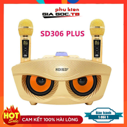 Loa Bluetooth karaoke mini SD 306 Plus bản mới nhất, Loa mắt cú kèm 2 mic hát karaoke không dây, Bass cực chuẩn