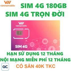 Sim 4G vietnamobile trọn đời 180GB hạn sử dụng 12 tháng tặng 40k trong tài khoản