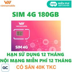 Sim 4G vietnamobile trọn đời 180GB tặng 40k tkc miễn phí vận chuyển