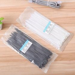 Set 100 dây thít bằng nylon đầu khóa zip nhanh màu trắng/đen tiện dụng