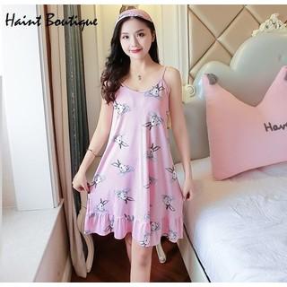 Váy ngủ Haint Boutique thiết kế 2 dây kẻ sọc nhỏ họa tiết hình thỏ vn18 - vn18 thumbnail