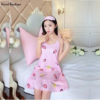 Váy ngủ Haint Boutique thiết kế 2 dây mát mẻ họa tiết hình dâu vn17 - vn17 thumbnail