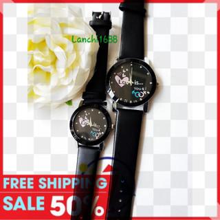 đồng hồ cặp 2 cái nam nữ thời trang tim hồng - captim02 thumbnail