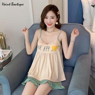 Bộ đồ ngủ Haint Boutique 2 dây quần đùi vải mềm mịn vn31 - vn31 thumbnail