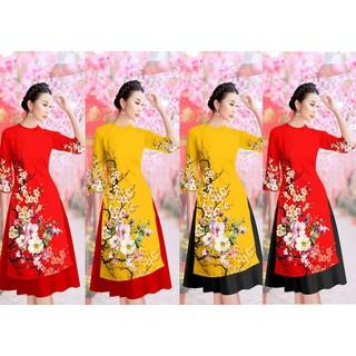 Áo dài cách tân họa tiết hoa bộ áo dài kèm chân váy có bán lẻ áo và lẻ chân váy - AD09 thumbnail
