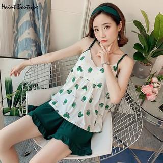 Bộ đồ ngủ Haint Boutique 2 dây quần đùi họa tiết xương rồng vn24 - vn24 thumbnail