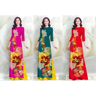 Áo dài truyền thống họa tiết sang trọng bộ áo dài có bán lẻ quần lẻ áo - AD06 thumbnail