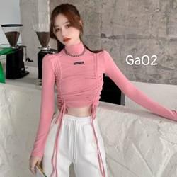 Áo croptop nữ đẹp - áo kiểu nữ tay dài rút dây 2 bên