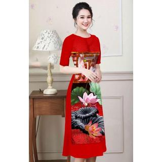 Áo dài hoạ tiết hoa sen cực đẹp mẫu mới bộ áo dài có bán lẻ áo lẻ quần và lẻ chân váy - AD07 thumbnail