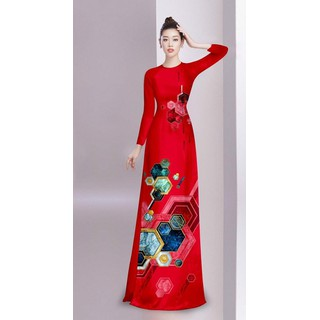 Áo dài truyền thống họa tiết xịn sò bộ áo dài có bán lẻ áo và lẻ quần - AD05 thumbnail