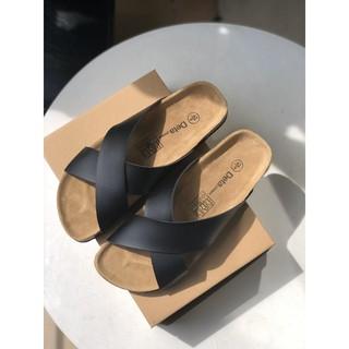 Loại 1 Dép quai chéo Nam Nữ đế trấu Birken màu ĐEN - DETA23D HÀNG FULLBOX ẢNH TỰ CHỤP VIDEO TỰ QUAY - DETA23D 2