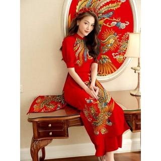 Bộ áo dài truyền thống họa tiết sang trọng có bán lẻ áo và lẻ quần có size lớn - AD03 thumbnail