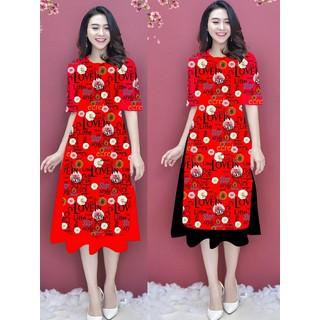 Áo dài cách tân họa tiết đẹp kèm chân váy bộ áo dài nữ có bán lẻ áo và lẻ chân váy - AD04 thumbnail