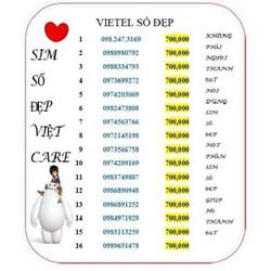 Sim Viettel đồng giá 700k đầu cổ 09  số đẹp  giá rẻ  nghe gọi thoải mái