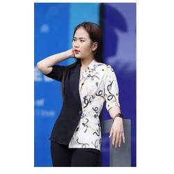 Áo kiểu phối màu cổ vest vải lụa tơ siêu  xinh size M, L XL 40-70kg