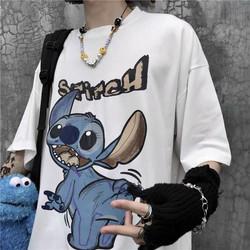 áo thun nam nữ phối chữ cùng in hình thú vãy đuôi siêu cute hiện đại thoáng mát hot trend