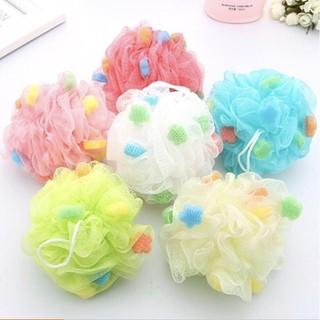 Bông tắm lưới tròn đính mút xốp tạo bọt nhiều màu - BATHING FLOWER - sp044 thumbnail