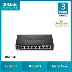 -Link Gigabit Vỏ thép Bộ chia mạng Switch 8 cổng RJ45 Tăng tốc máy chủ - Thiết bị chuyển mạch DLINK DGS-108