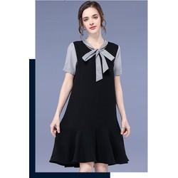 Đầm suông đuôi cá cổ phối nơ thời trang