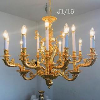 đèn trùm trang trí phòng khách- đèn gắn trần 24 tay phong cách cổ điển - đèn trùm trang trí j1 24 thumbnail