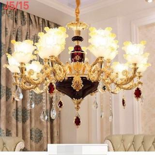 đèn chùm trang trí phòng khách cổ điển - đèn trần trang trí phòng khách 15 tay - đèn chùm trang trí j5 15 thumbnail