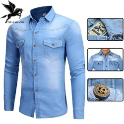 áo sơ mi jean nam dài tay cao cấp form chuẩn loại sơ mi jean denim đường phố
