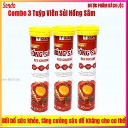 [Combo 3 Tuyp] Viên Sủi Hồng Sâm Red Ginseng giúp Ăn ngon, ngủ tốt, bồi bổ cơ thể, giảm mệt mỏi, chống lão hóa,chống ung thư, kiểm soát bệnh tiểu đường