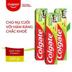 Combo 3 Kem đánh răng Colgate Vitamin C thơm mát 220g/ tuýp