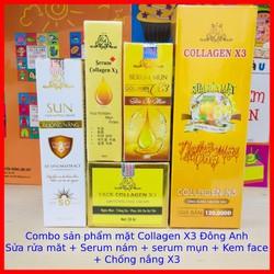 Combo Kem face + Serum Mụn + Serum X3 + Sửa rửa mặt Nghệ + Kem Chống nắng Collagen X3 Đông Anh - Chính hãng