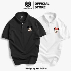 Áo Thun Polo Nam Nữ Vải Cá Sấu 4 Chiều, Áo Thun Cổ Trụ In Hình Logo Chuột Phong Cách Hàn Quốc, CTDC131