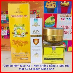 Combo Kem face X3 + Sửa rửa mặt nghệ + Kem Chống nắng Collagen X3 Đông Anh - Chính hãng