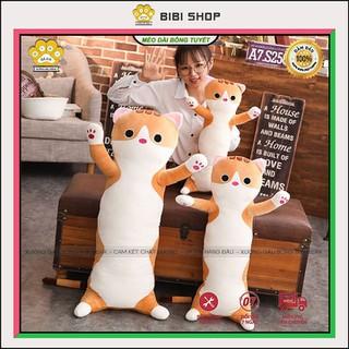 Gấu bông gối ôm mèo dài bông tuyết xinh xắn, Gấu bông sang trọng, Đồ chơi thú bông - GBMDBT thumbnail
