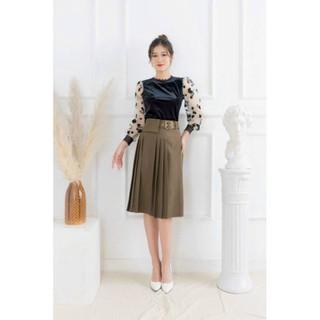 Chân váy công sở xếp ly xòe tròn kèm đai cao cấp - Chân váy xếp ly kèm đai thumbnail