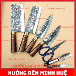 Bộ dao kéo nhà bếp nhíp oto chuẩn hàng rèn thủ công cao cấp phúc sen
