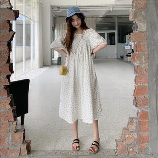 (Ảnh thật) Đầm dài babydoll hoa tay phồng nhún ngực phong cách ulzzang Hàn Quốc - DD018 thumbnail