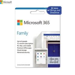 Phần mềm Microsoft 365 Family  12 tháng  Dành cho 6 người 5 thiết bị/người  Trọn bộ ứng dụng Office  1TB lưu trữ OneDrive