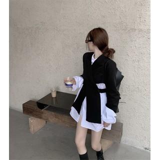 Set áo khoác vest cách điệu + váy sơ mi trắng phong cách ulzzang Hàn Quốc - SAV020 thumbnail