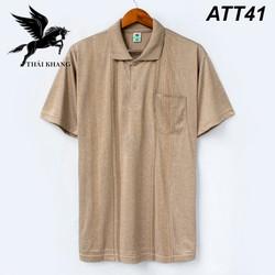 Áo thun nam trung niên vải cotton lanh mềm mịn mặc cực mát loại áo thun nam tay ngắn có cổ có túi áo táo or Lyon