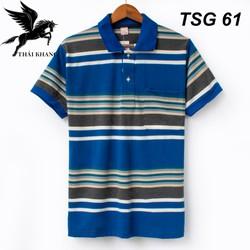 Áo thun nam có cổ trung niên sọc ngang vải cotton xịn loại áo thun cho người lớn tuổi có túi TSG60