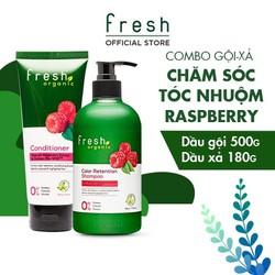 Combo Gội - Xả Fresh Organic Raspberry Chăm Sóc Tóc Nhuộm 500g + 180g